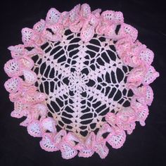 """Vintage Hand Crocheted Doily Pink Ruffled Edge 10"""""""