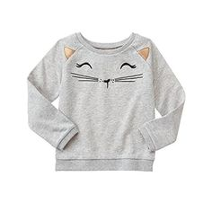 Toddler Girl Halloween Sweater, grey pullover cat Gymboree and like OMG! get some yourself some pawtastic adorable cat apparel! Toddler Girl Style, Toddler Girl Outfits, Boy Outfits, Baby Girl Fashion, Toddler Fashion, Kids Fashion, Fashion Clothes, Fall Fashion, Toddler Girl Halloween