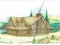 Home Plans HOMEPW11901 - 2,683 Square Feet, 3 Bedroom 3 Bathroom Log Houses Home with