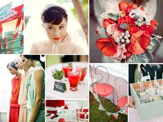 Red and Mint Wedding