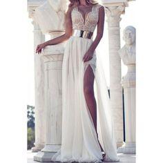 Elegant Plunging Neck Sleeveless Lace Splicing Slit Long Dress For Women
