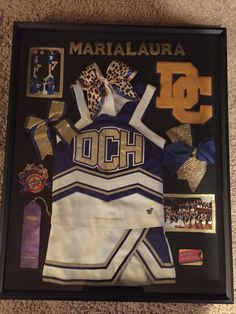 4 year member shadow box Cheerleading Crafts, School Cheerleading, Cheerleading Uniforms, Cheer Sister Gifts, Cheer Gifts, Cheer Mom, Senior Night Gifts, Cheers Photo, Cheer Spirit