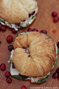Turkey, brie, spinach, and cranberry relish croissant