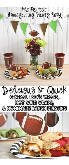 "#ad The most delicious wraps for game day - General Tso's Wraps, Hot Wing Wraps, and a homemade ranch dressing recipe! Be a #GameTimeHero and serve this @DeliAnytime meal up to your family for a ""touchdown""!"