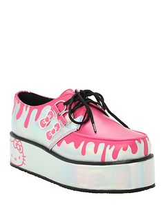 T.U.K. Hello Kitty Drips Holographic Silver Wrap Creepers | Hot Topic