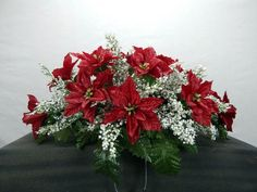 Christmas Poinsettia With  White Filler Cemetery Flower Grave Headstone Saddle