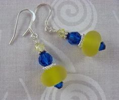 Yellow and Blue Lampwork Swarovski and Sterling Silver Earrings by ByMiMi for $7.00