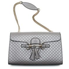 fc313a61476 Gucci Emily GG Micro Shoulder Lousse Grey Gray Leather New Handbag