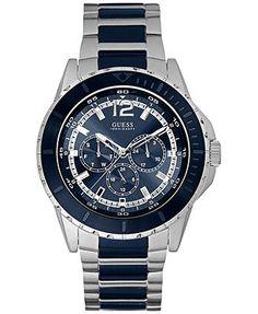 GUESS Men's Blue and Silver-Tone Bracelet Watch 46mm U0478G2