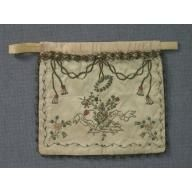 "Woman's drawstring workbag, ""Ce panier de fleur"" 1780-1800 Origin: Europe, France H: 8 3/4""; W: 10"". Silk embroidered with silk and metallic..."