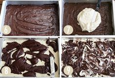 cheesecake swirl brownies - Dark choc brownies in a box; Cheesecake:16 oz cream cheese (2-8 oz packages) 2/3 cup granulated sugar 1/2 cup allpurpose flour 1 tsp espresso powder 1 tsp vanilla 1/4 cup heavy cream. 2 large eggs Preheat oven to 350 degrees F.  Line a 9×13-inch baking pan with parchment paper.  Light grease and set aside. 1/2 brownie mix, cheesecake mix, dollop 1/2 brownie mix and swirl. bake 40-45