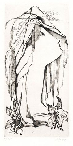 "Ludmila Jirincová (1907-1985), ""Girl with a Veil"", etching, 15.5 x 7.5 cm."