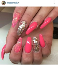 Coral and gold coffin shaped nails