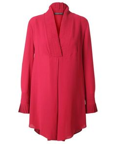 Alexander Mcqueen Crepe Silk Tunic Dress With Pleated Collar in Red (pink)