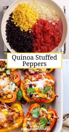 Vegetarian Quinoa Recipes, Vegetarian Stuffed Peppers, Veggie Recipes, Diet Recipes, Quinoa Dinner Recipes, Healthy Cooking Recipes, Plant Based Dinner Recipes, Healthy Recipe Videos, Veggie Meals