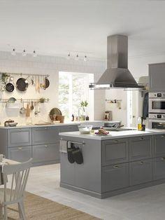 Grey kitchen ideas in 2019 grey kitchen designs, grey kitchens, kit Bodbyn Kitchen Grey, Grey Kitchen Cabinets, Grey Kitchens, Bodbyn Grey, Grey Ikea Kitchen, Kitchen Walls, Kitchen Curtains, Kitchen On A Budget, New Kitchen