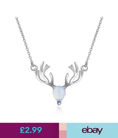 Necklaces & Pendants Fashion Solid 925 Sterling Silver Moonstone Elk Animals Pendant Necklace #ebay #Fashion