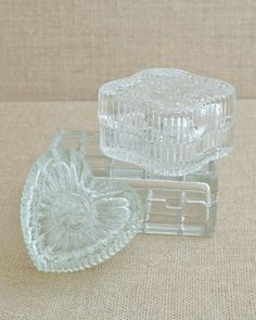Vintage Set of Three Glass Boxes - Perfect for Jewelry by MyAffordableVintage on Etsy