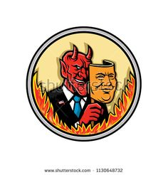 Demon Holding Mask With Flames Masco by patrimonio on Mascot icon illustration of bust of a demon, devil or Satan, holding a mask of an American businessman with flames around the circle viewed from front on isolated background in retro style. Satan, Retro Style, Retro Fashion, Devil, Royalty Free Stock Photos, American, Retro Illustrations, Artwork, Demons