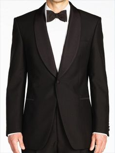 A luxurious wool and mohair dinner jacket, cut with all the correct features and a perfectly proportioned shawl collar for a timeless aesthetic. The wool and mohair blended cloth lends a sophisticated sheenBlack wool and mohair w Dinner Suit, Dinner Jacket, Black Tie Tuxedo, Smoking Jacket, Formal Wear, Men Dress, Suit Jacket, Mens Fashion, Shawl