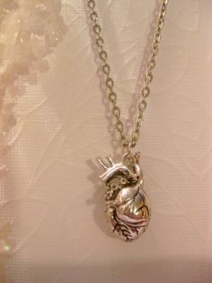 Hunger Games Inspired Anatomical Heart Necklace - 3D Human Heart on Etsy, $30.00
