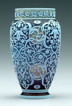 """PpTricolor Webb cameo vase, lavender, olive and white glass, Arabesque style floral and scroll decoration, marked on base """"Thomas Webb & Sons"""". Height: 5 7/8"""""""