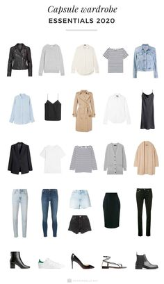 minimalist fashion A capsule wardrobe is a minimalistic wardrobe that contains around 20 up to 40 pieces. Be inspired by our 2020 Capsule wardrobe essentials list. Capsule Wardrobe Essentials, Capsule Wardrobe Women, French Capsule Wardrobe, Capsule Outfits, Fashion Capsule, Mode Outfits, Staple Wardrobe Pieces, Capsule Clothing, Closet Essentials