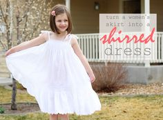great idea, repurpose ladies skirt to little girl's dress