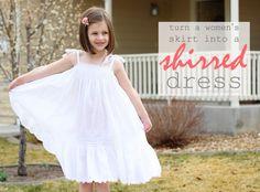 Skirt into girls shirred dress