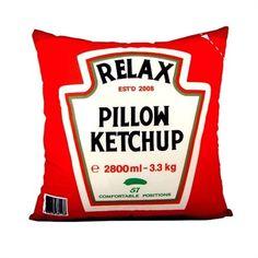 Almofada Decorativa Divertida Ketchup Vermelha - Presentes criativos, diferentes e originais - Monky Design