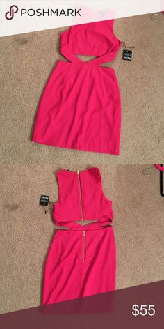 Pink two piece dress Super cute tight hot pink two piece dress with fabric that attaches the two pieces. Classy with a gold zipper and in perfect condition never worn. Bought online from revolve and it didn't fit. Dresses Mini