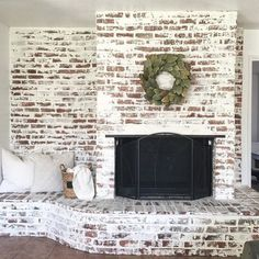 Brick Fireplace Makeover | German Schmear How-To Paint Fireplace, Brick Fireplace Makeover, Farmhouse Fireplace, Fireplace Design, Fireplace Ideas, Brick Fireplaces, White Wash Brick Fireplace, Fireplace Decorations, Brick Fireplace Decor