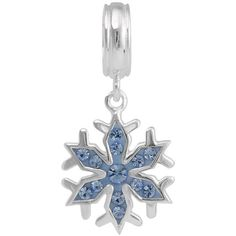 Disney Frozen Crystal Sterling Silver Snowflake Charm ($23) ❤ liked on Polyvore featuring jewelry, pendants, blue, snowflake charm, sterling silver snowflake jewelry, blue jewellery, disney and sterling silver jewellery