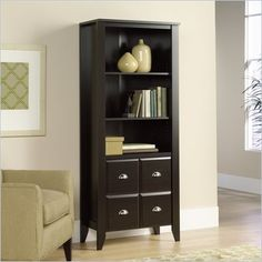 Sauder Shoal Creek Library with Doors in Jamocha Wood - 408739 - Lowest price online on all Sauder Shoal Creek Library with Doors in Jamocha Wood - 408739