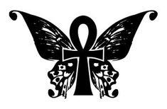 Butterfly Wing Ankh Tatty by Violhaine