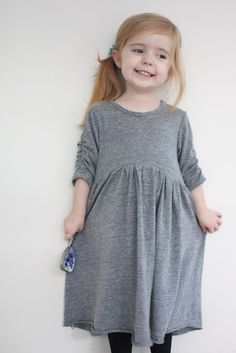 knit dress with ruched sleeves--tutorial from craftiness is not optional
