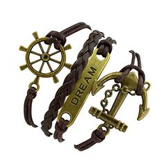 Time Pawnshop Bronze Rudder Anchor Dream Multilayer Adjustable Braided Brown Leather Bracelet