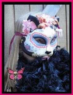 Maneki Neko Geisha Kitty Mask  Day of the Dead Cat by HikariDesign, $75.00
