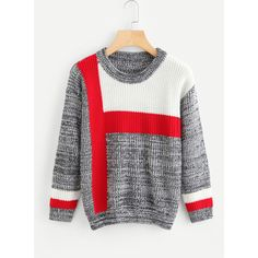 SheIn(sheinside) Color Block Space Dye Jumper (910 RUB) ❤ liked on Polyvore featuring tops, sweaters, shein, multicolor, long sleeve jumper, color block sweater, long sleeve pullover sweater, block sweater and sweater pullover