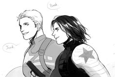 """Just like old times.   My favorite fanart of the day. And meanwhile the Avengers are just standing there going, """"Wait, Steve is supposed to be nice to EVERYONE ..."""""""