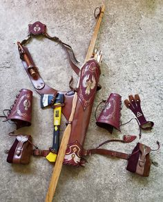 Multi-functional Leather Quiver With Two Arm Guards, Two Belt Pouches And A Shooting Glove Leather Quiver, Leather Tooling, Archery Gear, Archery Hunting, Archery Quiver, Crossbow Arrows, Archery Arrows, Hunting Gear, Arm Guard