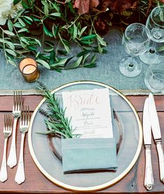 This Romantic Italian Wedding Features a Historic Venueand One Amazing View Martha Stewart Weddings Clear goldrim plates set with menus doubling as place cards graced e. Wedding Table Seating, Card Table Wedding, Wedding Plates, Wedding Reception Decorations, Wedding Centerpieces, Wedding Ideas, Diy Wedding, Gold Decorations, Spring Wedding