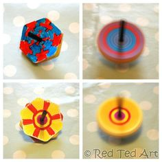 Colour theory through simple spinners. See how blue & Red turn into red, blue or purple, depending on how much colour you use!