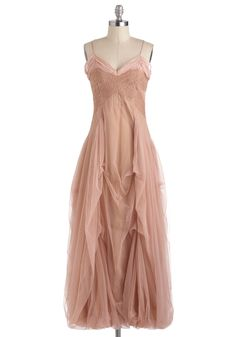 Half Past Swoon Dress - Cotton, Long, Pink, Solid, Formal, Fairytale, Spaghetti Straps, Maxi, Boho, Statement, Steampunk