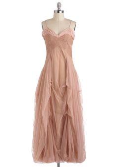Half Past Swoon Dress - Cotton, Long, Pink, Solid, Formal, Fairytale, Spaghetti Straps, Maxi, Boho, Statement, Steampunk, Wedding, Pastel