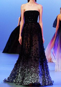 Elie Saab Paris Fashion Week 2014 - love the silver part at the bottom: 2 strong colors actually merged quite astounding!