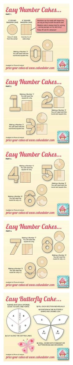 How to create easy number cakes, no special tins required! (Halloween Cake Betun… How to create easy number cakes, no special tins required! Cakes To Make, How To Make Cake, Cake Decorating Techniques, Cake Decorating Tutorials, Cookie Decorating, Decorating Cakes, Cake Cookies, Cupcake Cakes, Butterfly Cakes