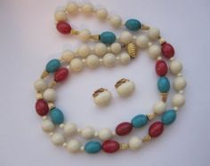 """Vintage Les Bernard French Ivory 31"""" Necklace & Clip Earrings"""