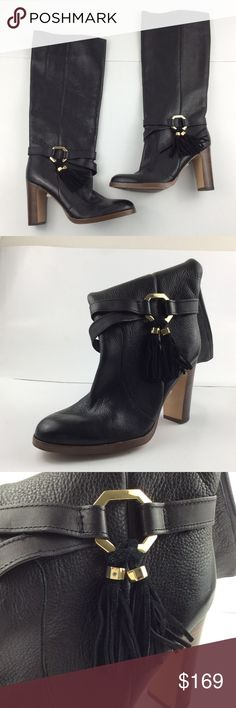 """Louise et Cit Women's Yovan Tassel Heeled Boot 3.75"""" heel 16.5"""" shaft height; 14.75"""" calf circumference Leather/suede upper, leather lining, man-made sole Imported Sku: S042 Vince Camuto Shoes Heeled Boots"""