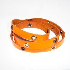 Bracciale Studs Neon Fluo Orange  Bracciale da indossare a più giri (pelle)  Multiloop bracelet (leather)